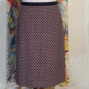 Talbots pink and black geometric pencil skirt.